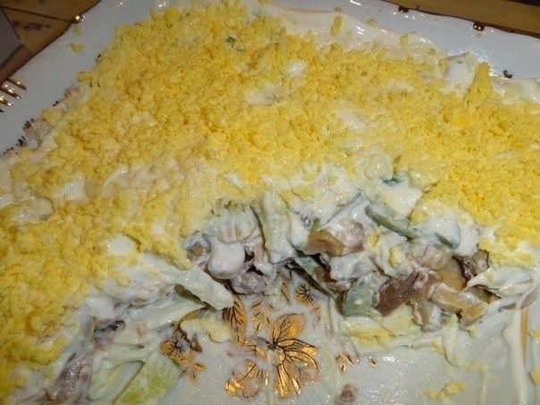 Салаты из курицы шампиньонов и огурцов