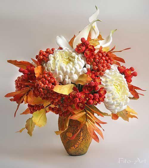 Композиции из цветов и листьев из