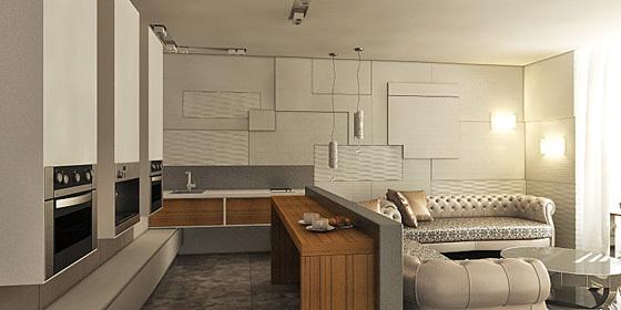 Дизайн кухни в студии 25 кв.м