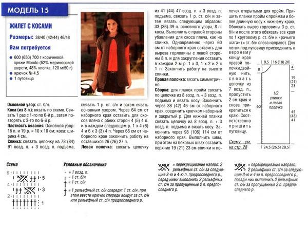 Вязание длинной безрукавки спицами для женщин с описанием 36