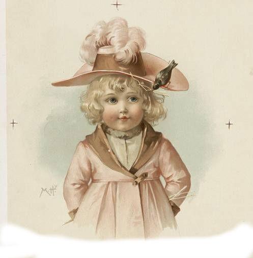 Девочка на старинных открытках 337