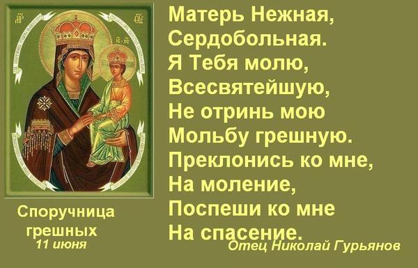Молитва божьей матери споручница грешным