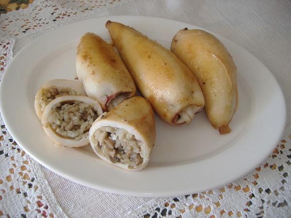 Кальмары фаршированные грибами рисом рецепт