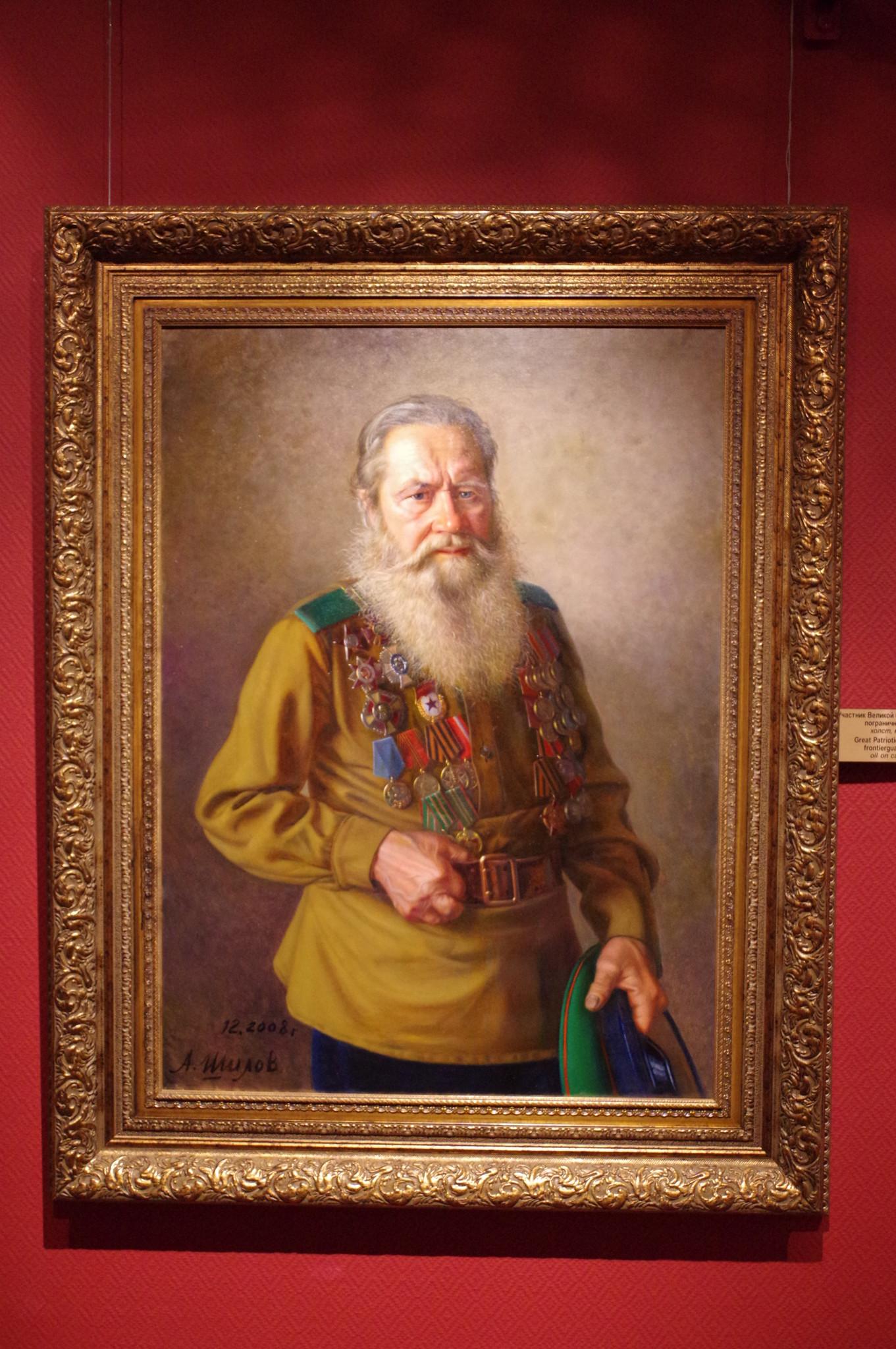 Участник Великой Отечественной войны, пограничник Попов В.А. (Александр Шилов, холст, масло, 2008)