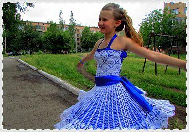 Вязание крючком платья на выпускной в детском саду 100