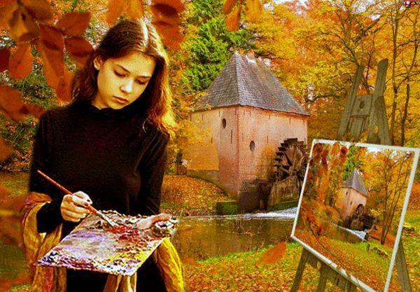 Картинки о осени в виде девушки трафарет