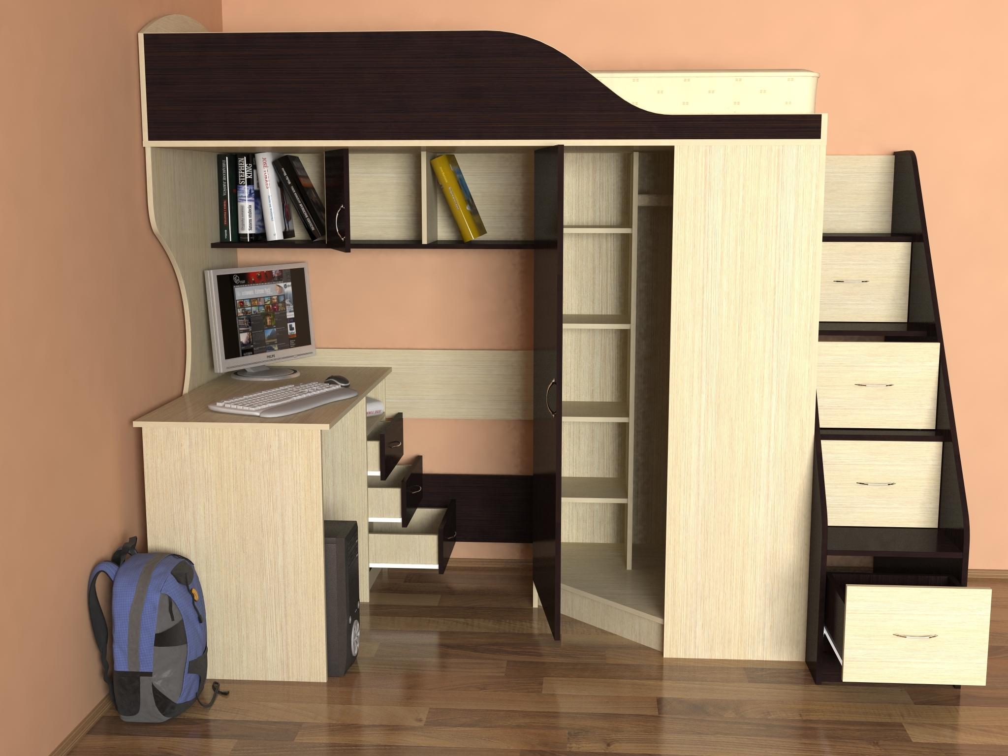 Детская двухъярусная кровать со столом - мебельный блог.