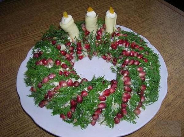 Украшение салатов к новому году своими руками с фото пошаговое