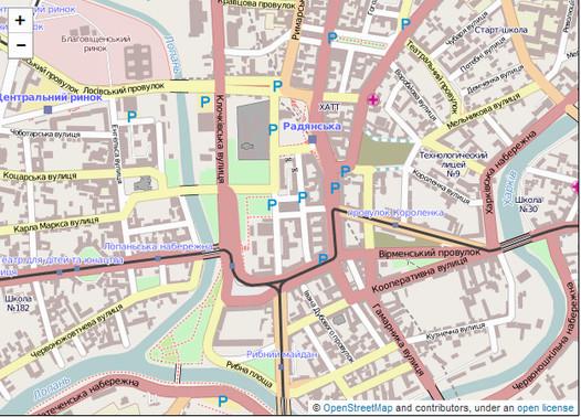 Подробная карта города от