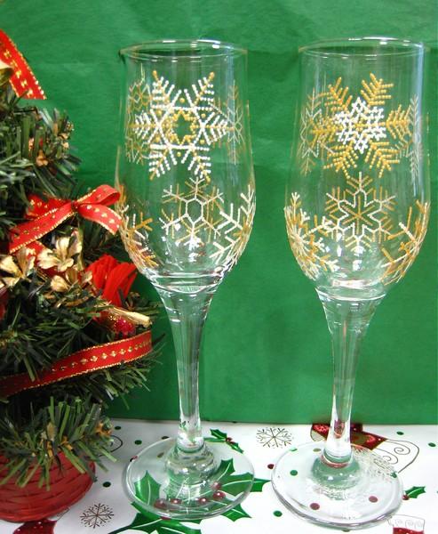 Новогодняя роспись бокалов своими руками
