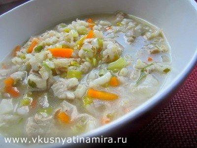 Перловый суп с салом