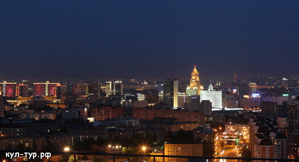 ночная Москва с высоты птичьево полёта