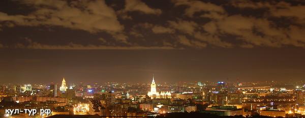 панорама ночная Москва с высоты