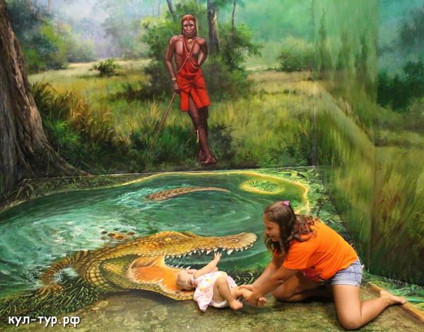 крокодил в 3д музее паттайи