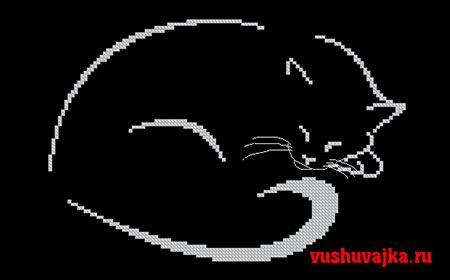 Вышивка крестиком черной кошки
