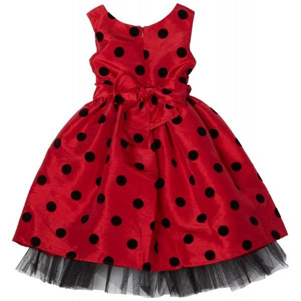Красное в горошек платье девочке