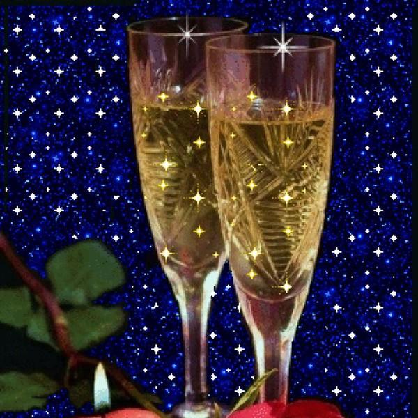 Картинки бокалы с шампанским с днем рождения гифки