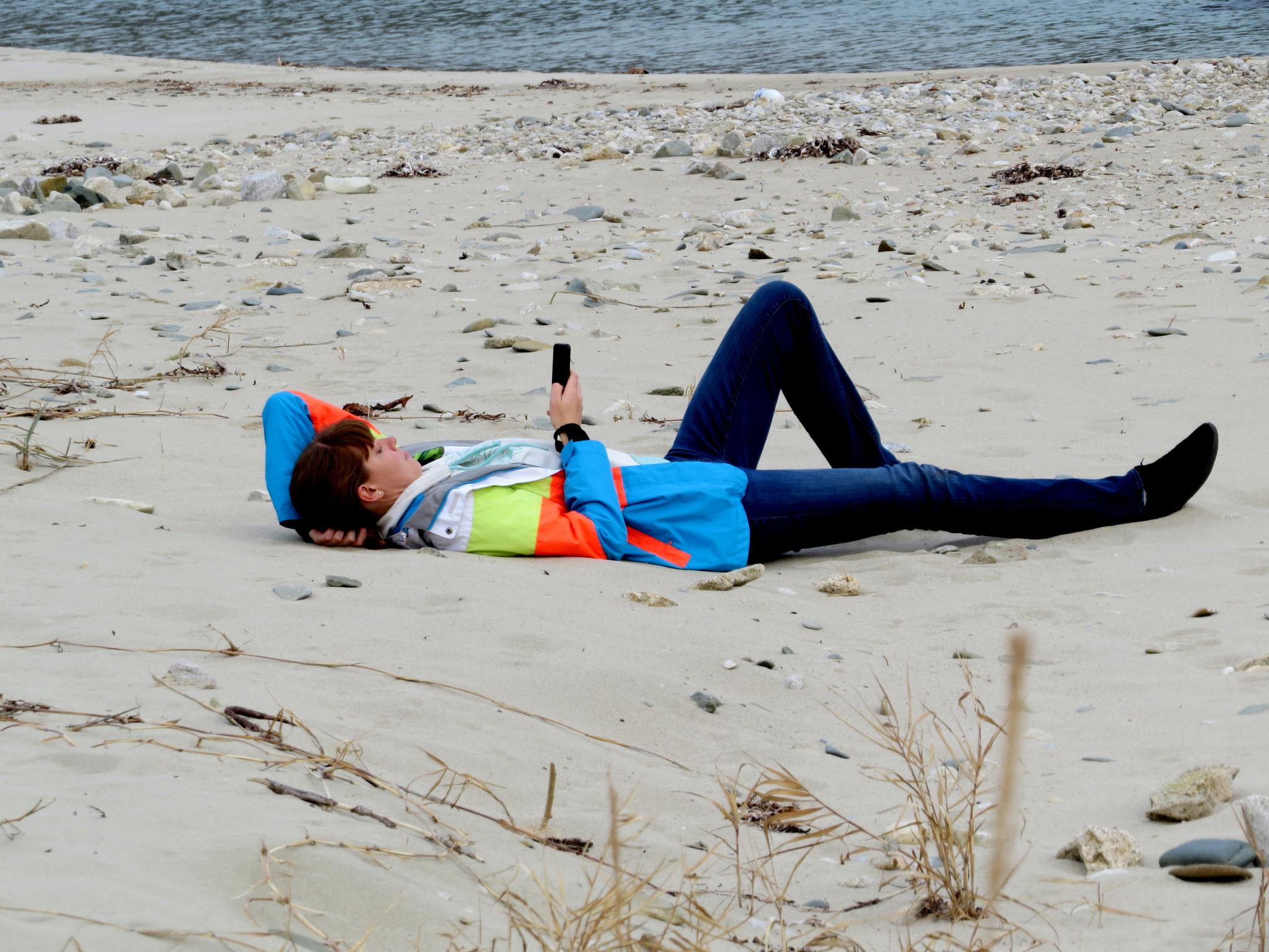 Ноябрьский отдых на пляже в б. Средняя