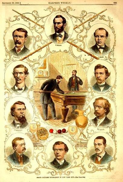 Чемпионы игры в бильярд Листок из газеты 1866 года