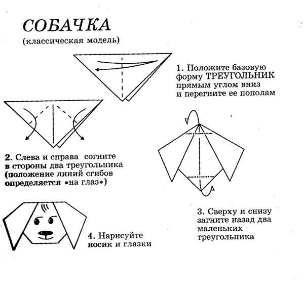 Схемы оригами для начинающих: голова. из бумаги.