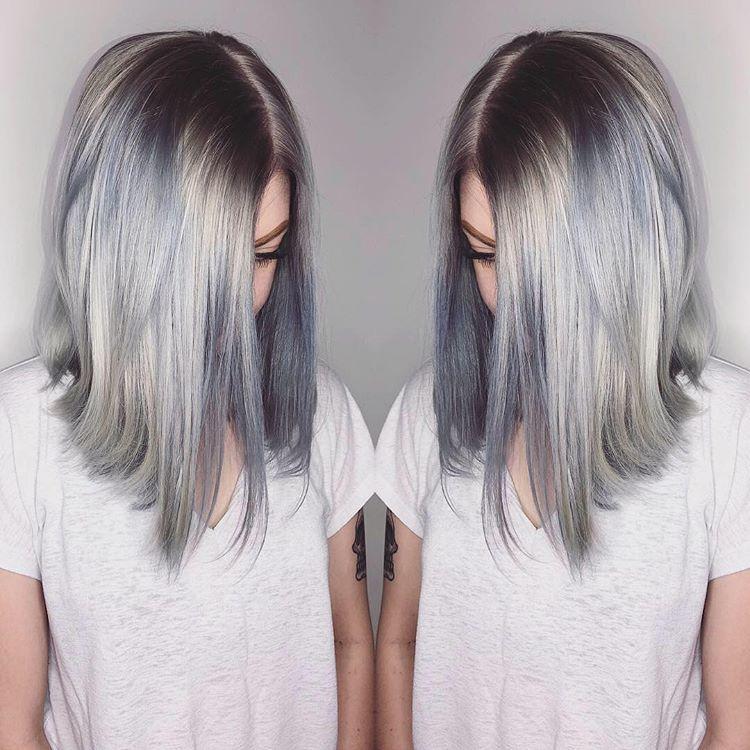титан титановый цвет окрашивание модное волосы серый