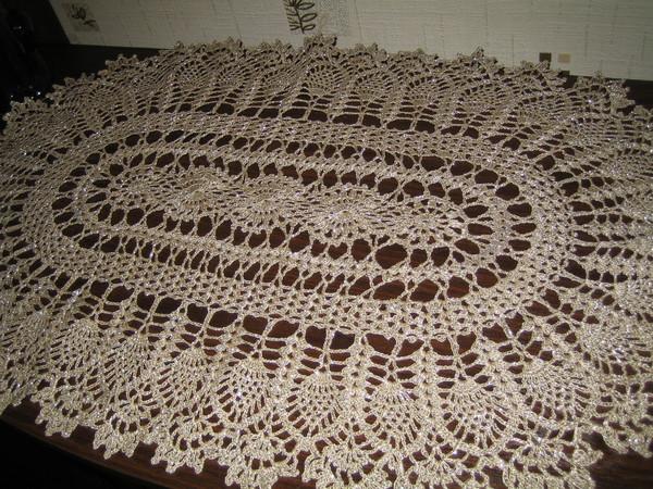 вязание крючком овальной скатерти схемы