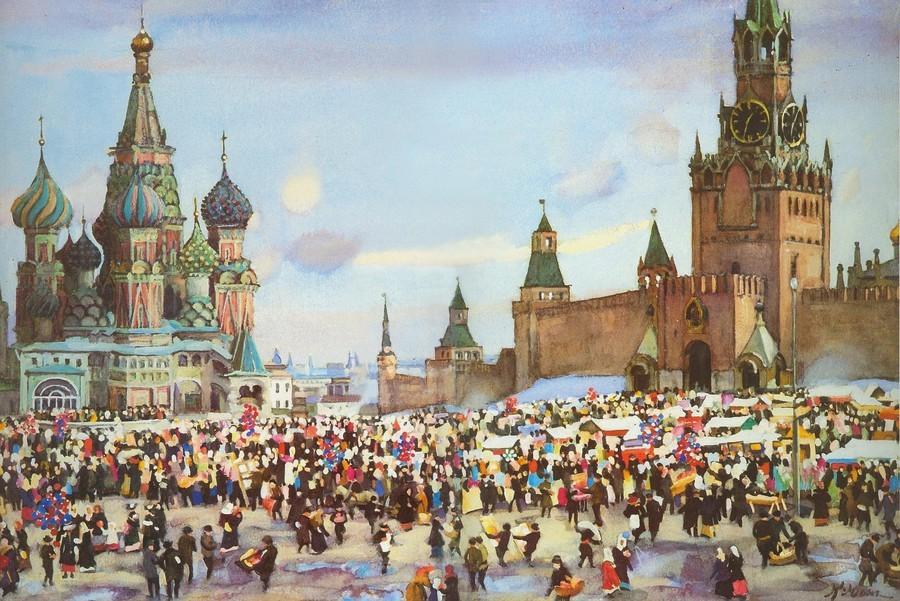 Юон Константин Федорович. Вербный базар на Красной площади. 1916. 35×48.  акварель