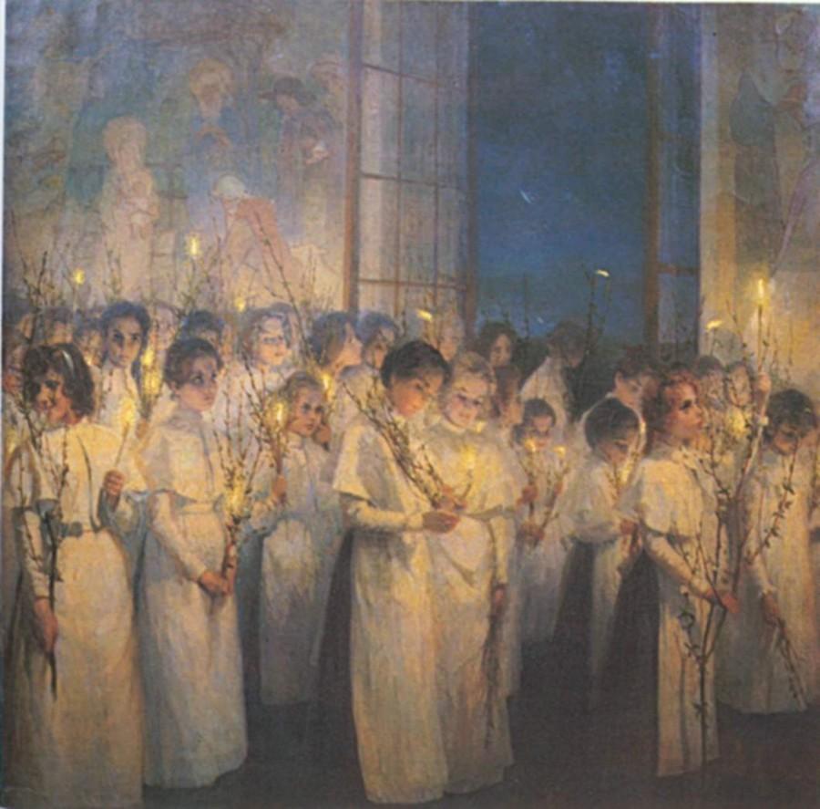 С. Блонская. «Девочки. Вербное воскресенье»,  181×187, 1900.