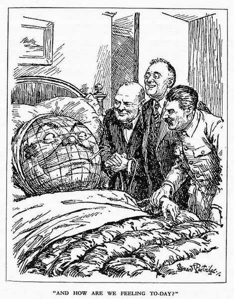 «Как самочувствие?» Черчилль, Трумэн и Сталин у постели выздоравливающего мира. Одна из немногих западных иллюстраций единства Большой Тройки