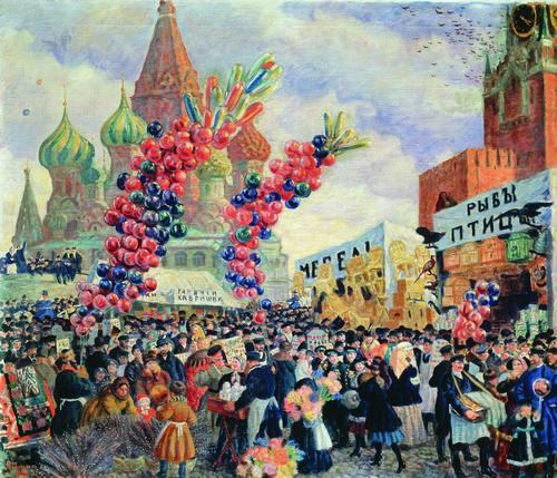 Б.М. Кустодиев. Вербный торг у Спасских ворот. 1917 г.
