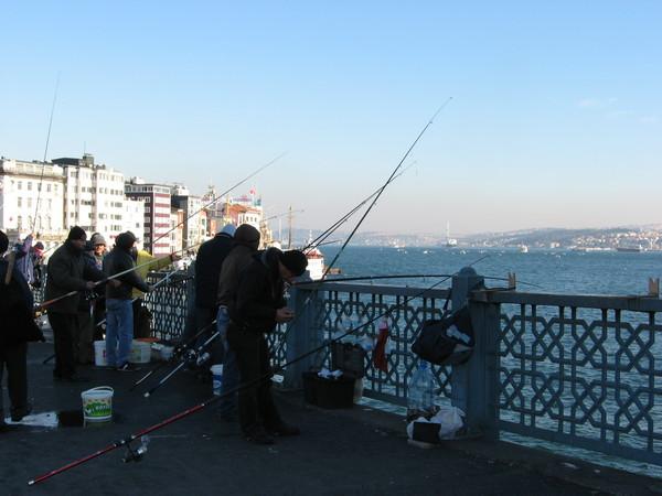 Галатский мост известен огромным количеством рыбаков