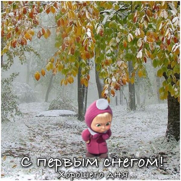 С первым снегом картинки прикольные гиф