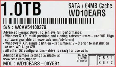 WD Jumper Settings-SATA - label on HDD