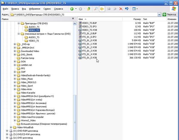DVD - структура папок и файлов