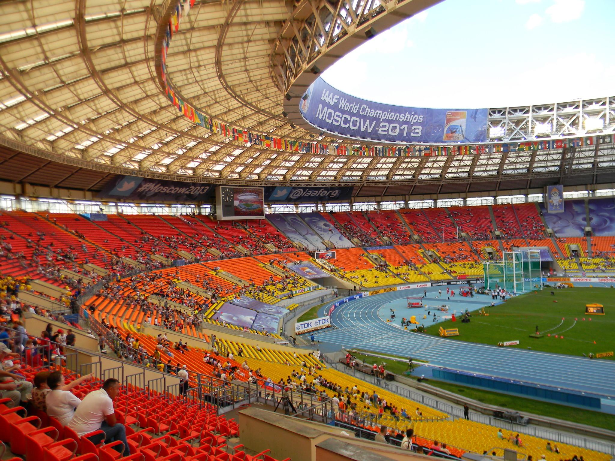 Стадион «Лужники» во время чемпионата мира по лёгкой атлетике (16 августа 2013 года)
