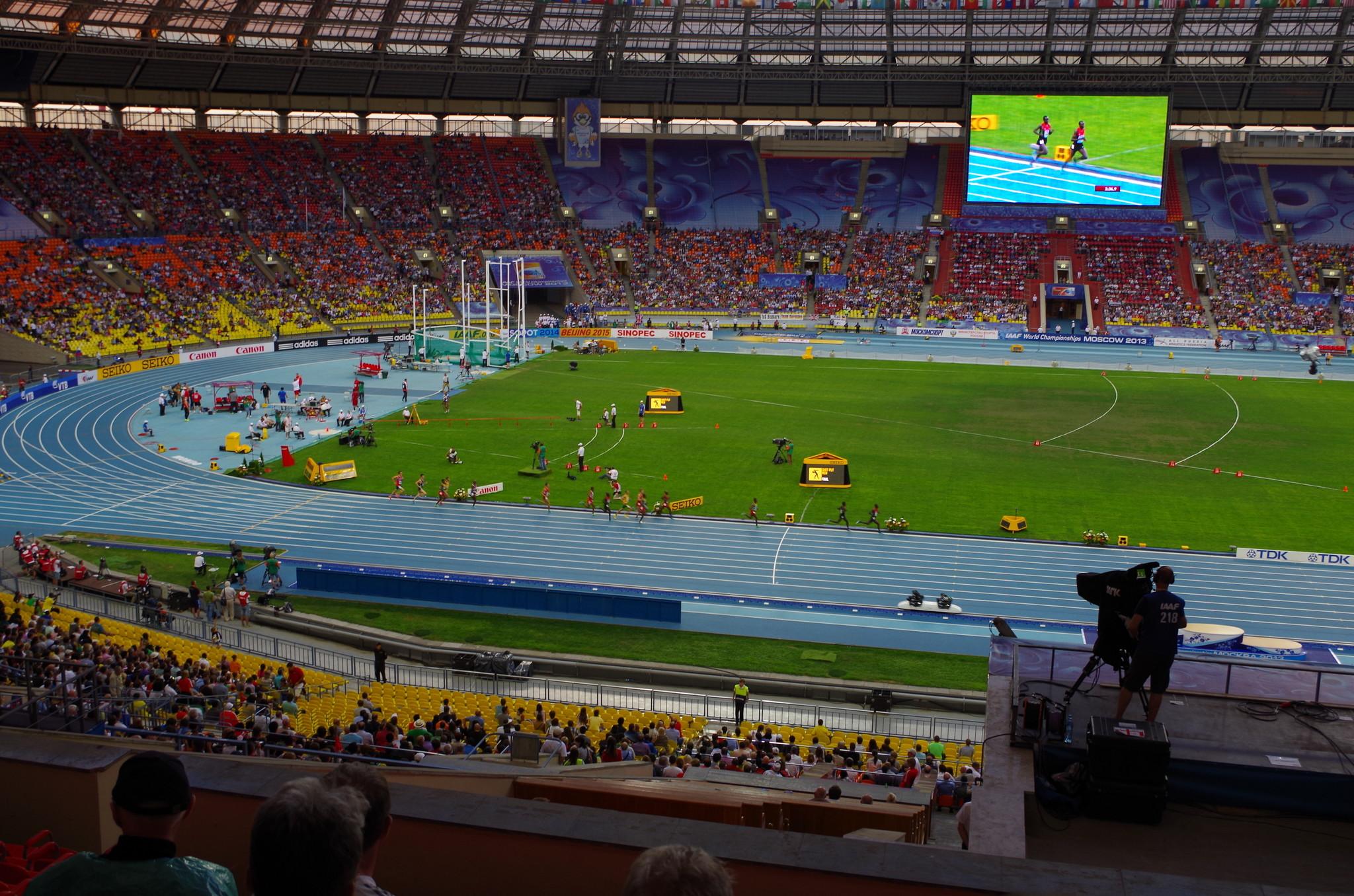 Стадион «Лужники» во время чемпионата мира по лёгкой атлетике 2013