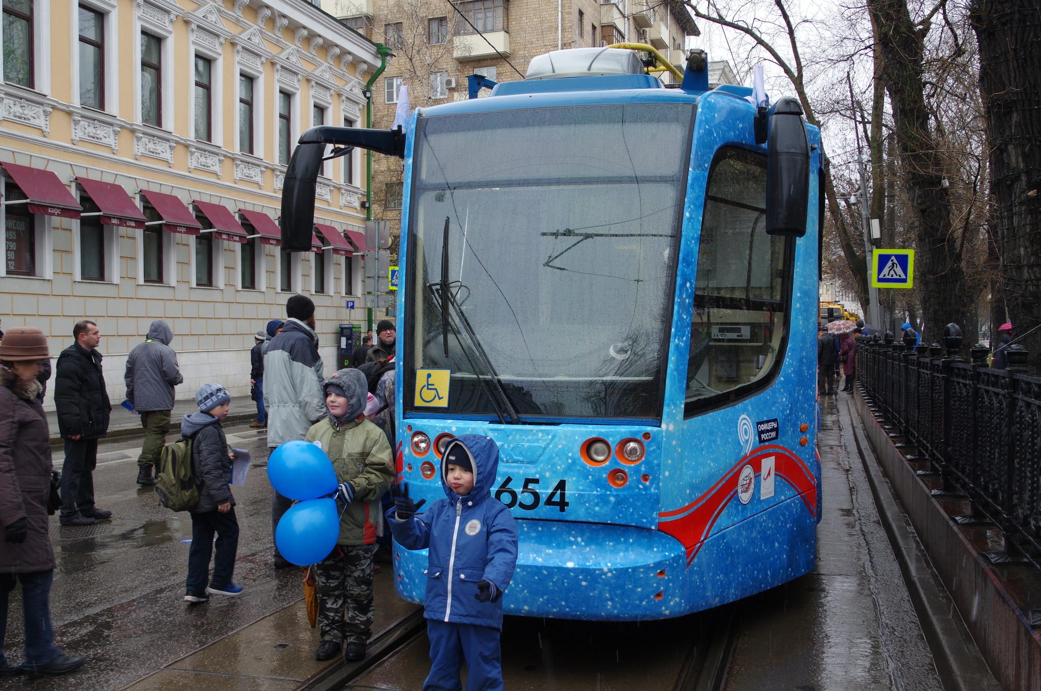 Парад трамваев на Чистых прудах 16 апреля 2016 года