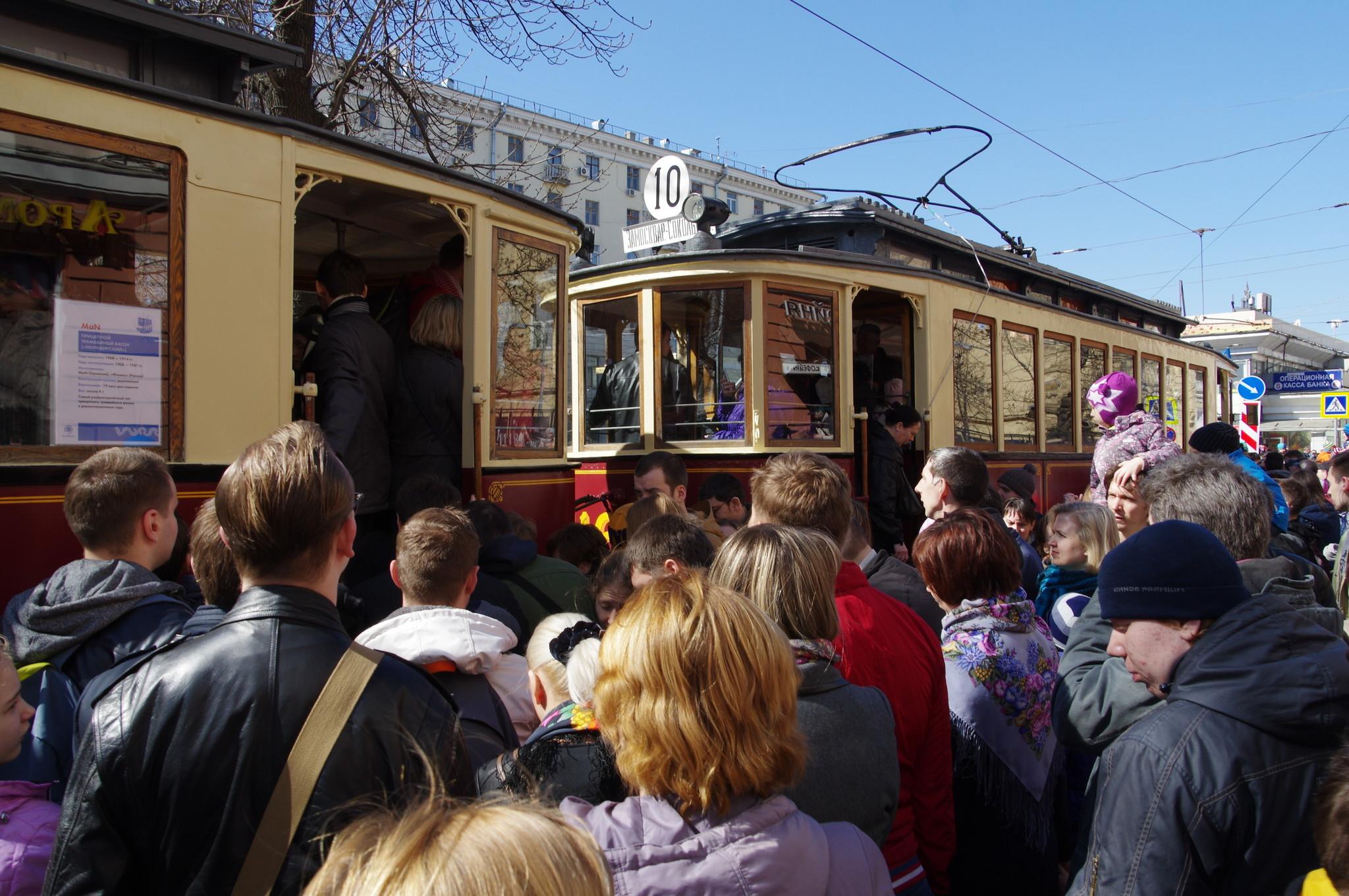 Парад трамваев на Чистопрудном бульваре 11 апреля 2015 года