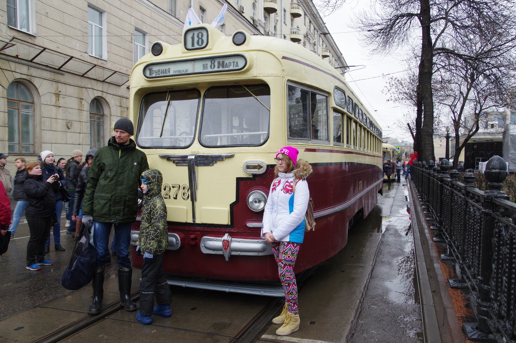 Московский трамвайный вагон МТВ-82 № 1278 на Чистопрудном бульваре