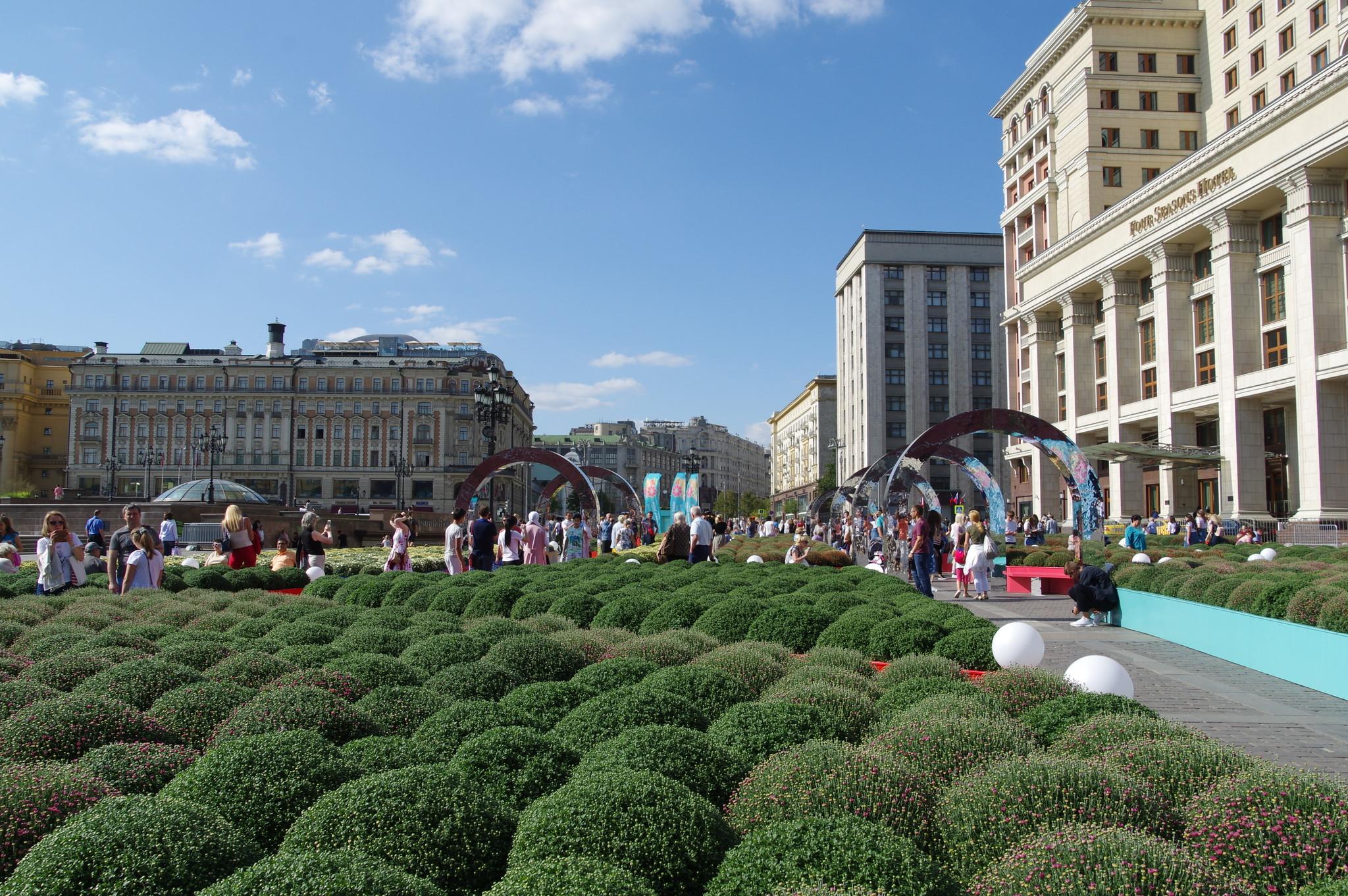 Сад в виде карты ВДНХ на Манежной площади в рамках фестиваля «Цветочный джем»