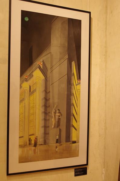Д.Ф. Фридман, В. Кузьменко Проект центральной подстанции метрополитена, ул. Герцена (ныне ул. Большая Никитская). Начало 1930-х. Фрагмент перспективы. Бумага, карандаш, акварель, гуашь, белила