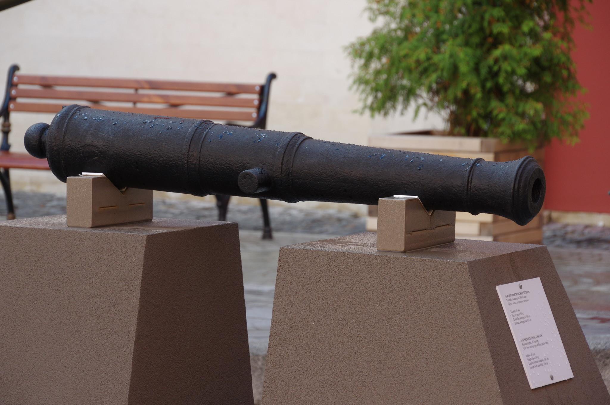 3/4-фунтовая морская пушка. Российская империя. XVIII век. Чугун; литьё, сверление, точение. Калибр: 49 мм. Масса: около 50 кг. Длина без винограда: 106 см. Длина с виноградом: 116 см.