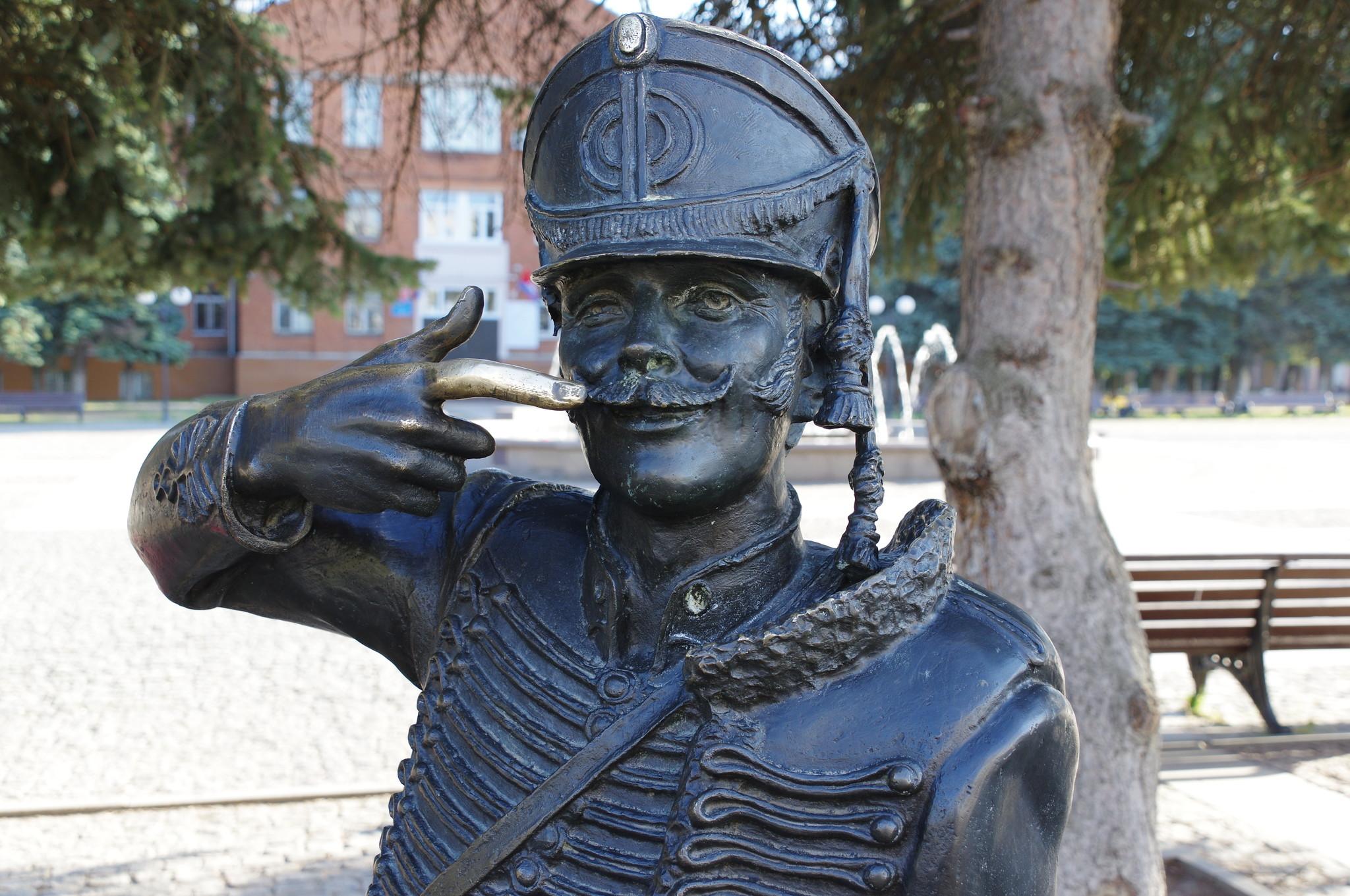 Памятник поручику Ржевскому на площади Собина в Долгопрудном