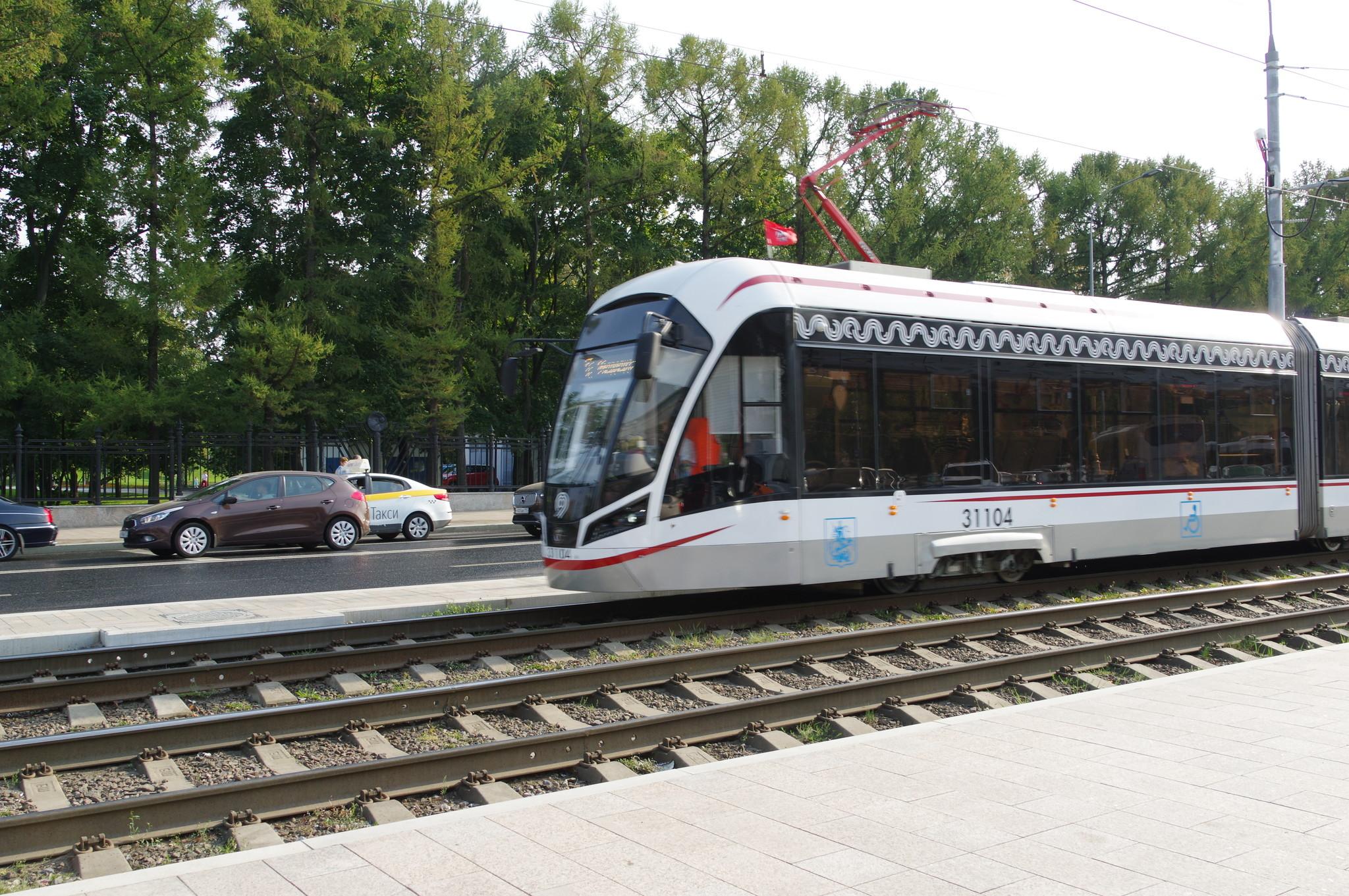 Трёхсекционный трамвай 71-931М «Витязь-М» № 31104