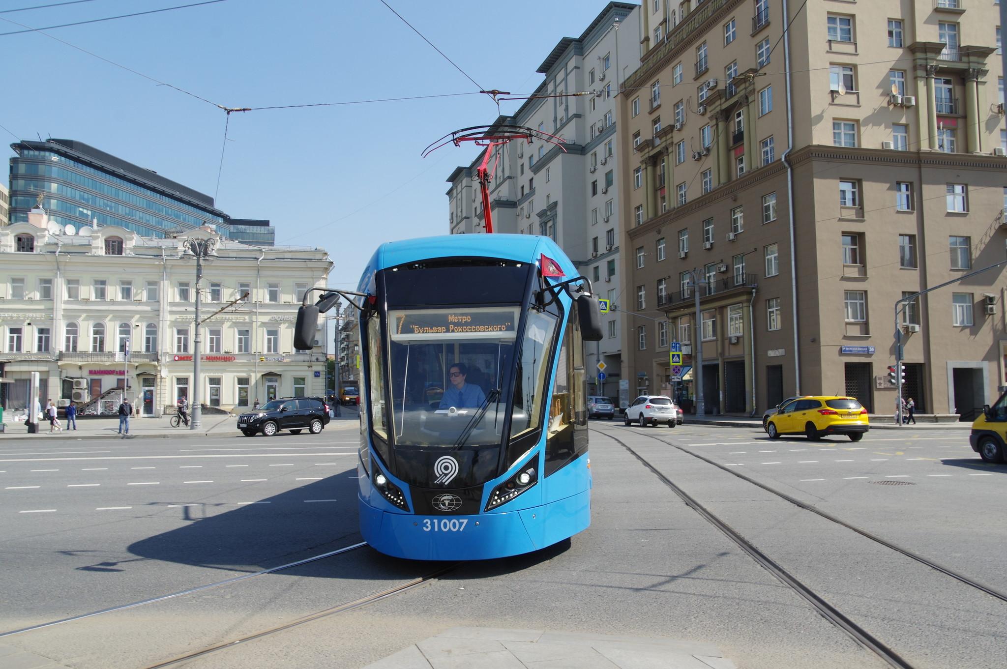 Трамвай 71-931М «Витязь-М» № 31007, маршрут 7. Площадь Тверская Застава