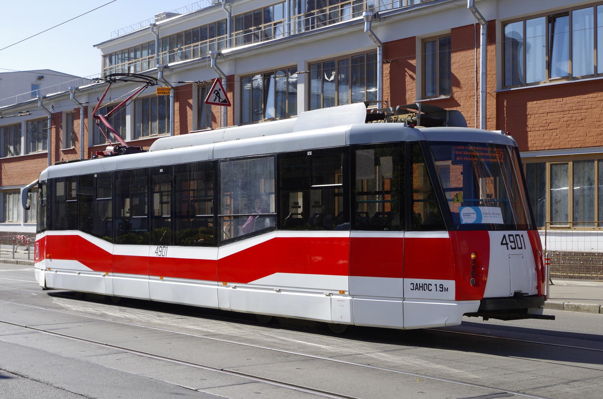 Трамвайный вагон № 4901 модель 71-153.3 (ЛМ-2008). Бауманская улица
