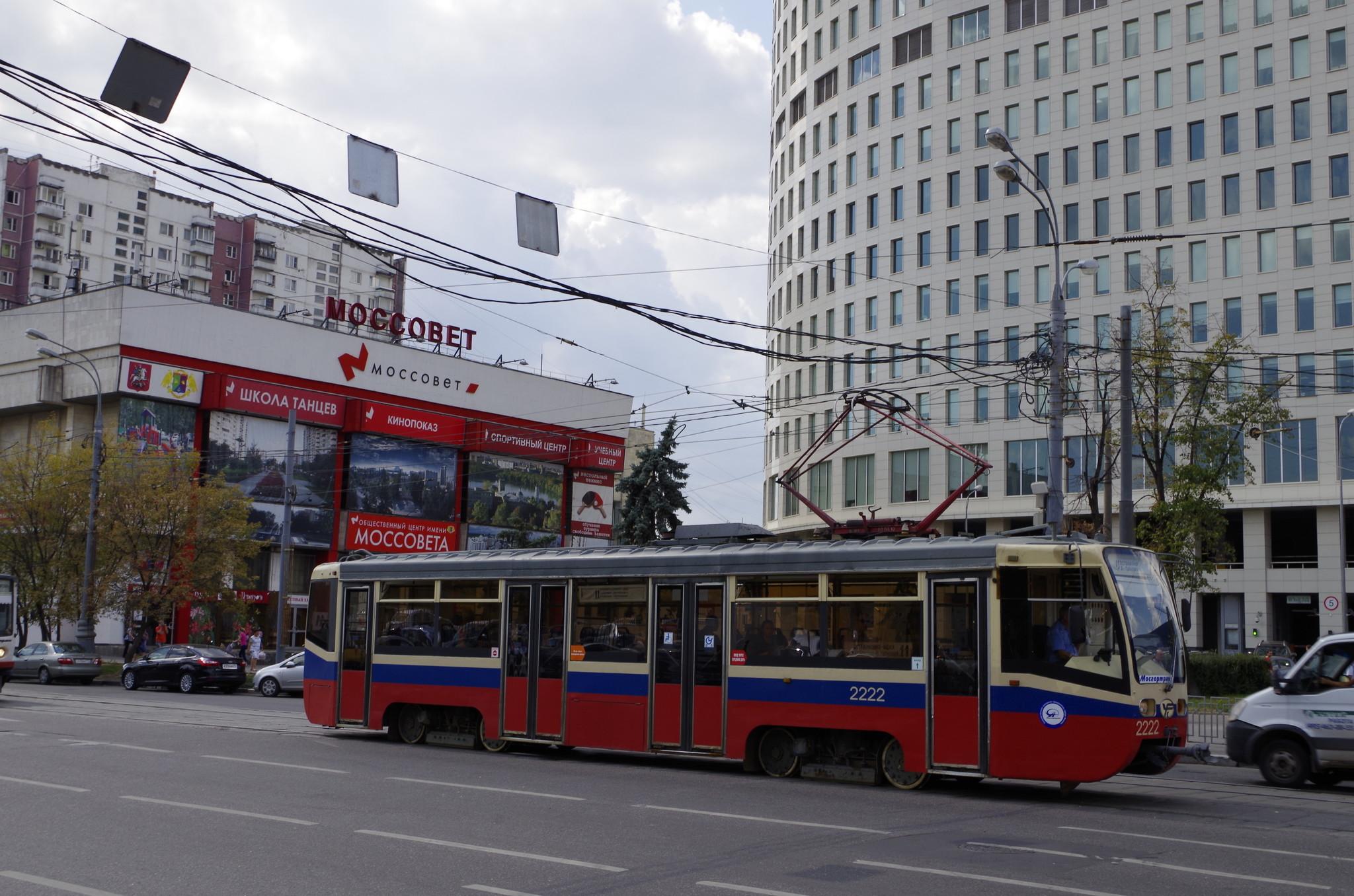 Трамвайный вагон № 2222 модель 71-619К (КТМ-19) на маршруте № 11. Преображенская площадь