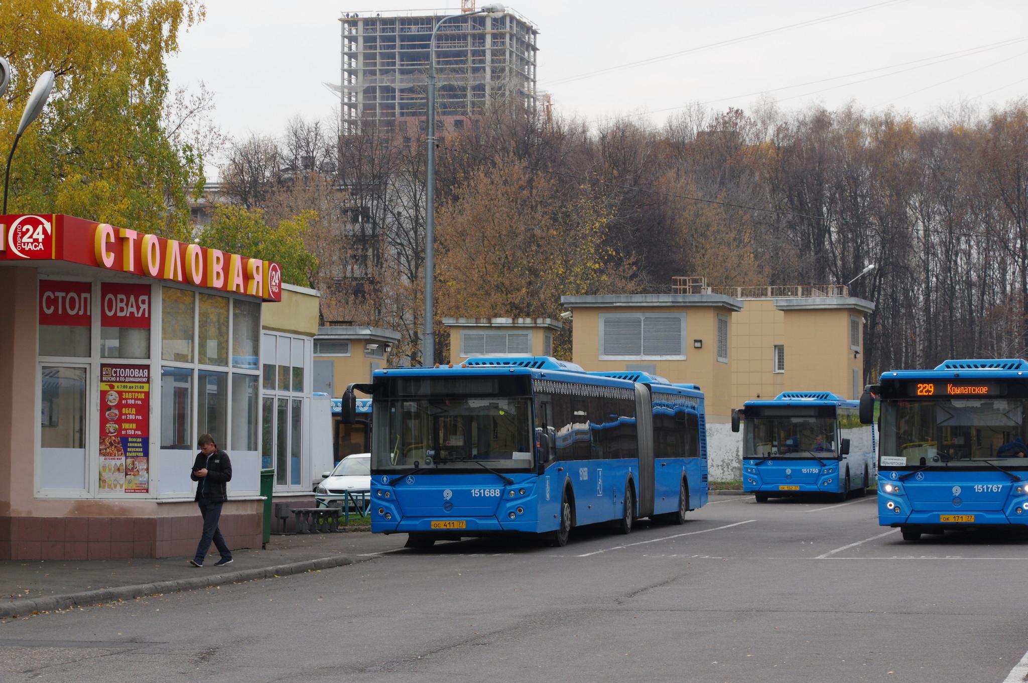 Автобус ЛиАЗ-6213.65 № 151688 (госномер: ос 411 77 rus), автобусы ЛиАЗ-5292.65: № 151750 (госномер: ок 152 77 rus) и № 151767 на маршруте № 229 (госномер: ок 171 77 rus). Остановка «Метро Молодёжная»