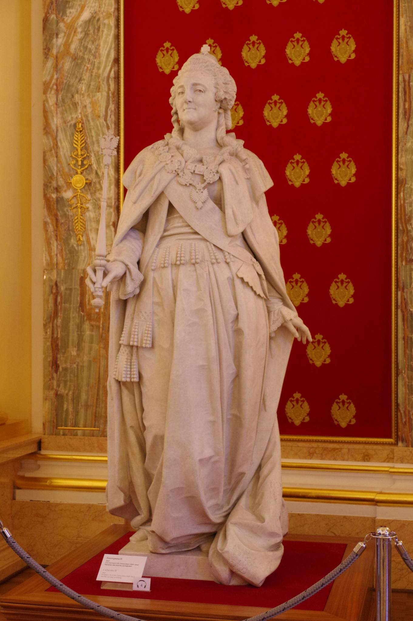 Екатерина II. 1896 г. Скульптор А.М. Опекушин (1838-1923). Мрамор, высекание, шлифовка. Большой дворец музея-заповедника «Царицыно»