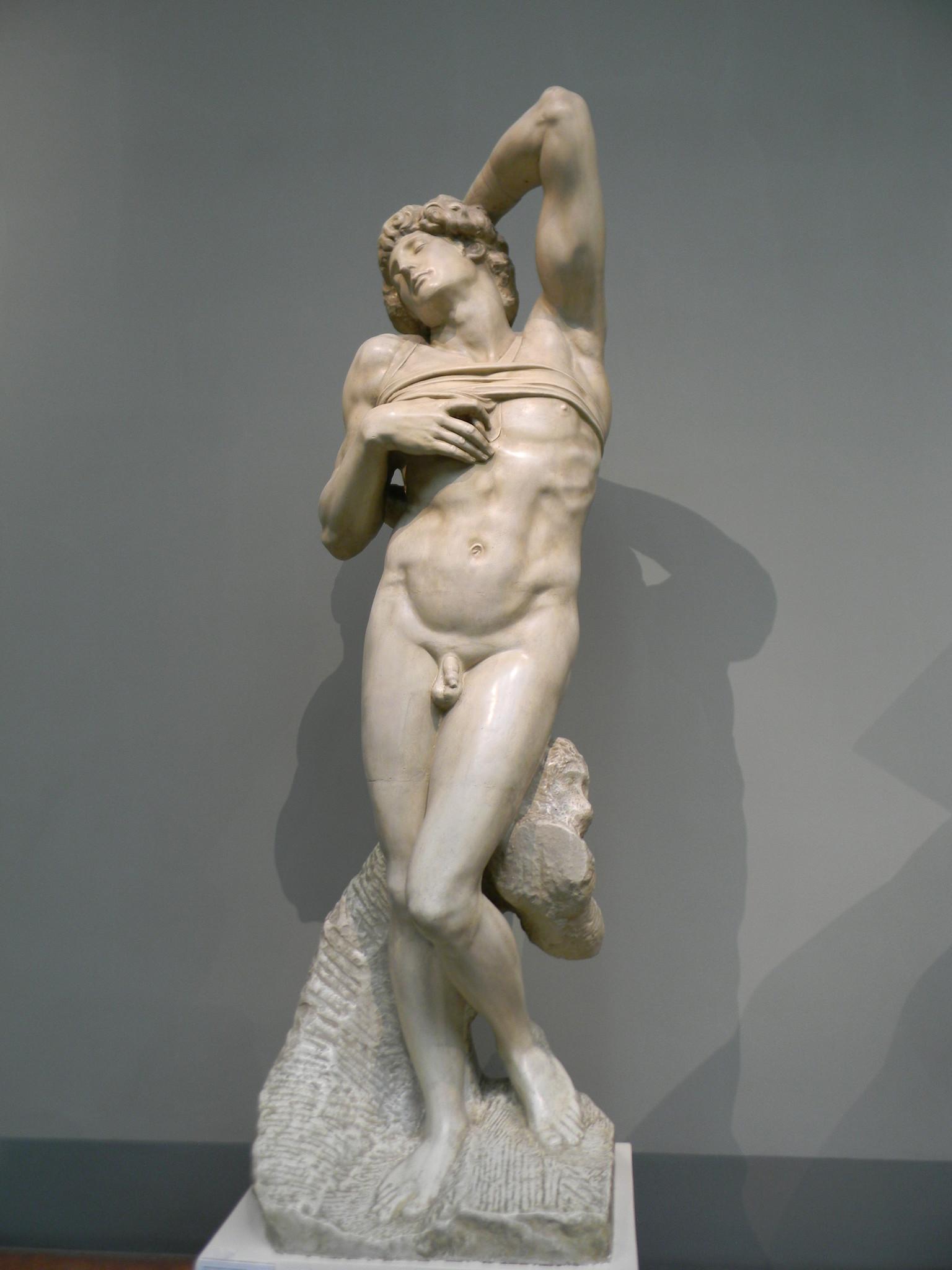 «Умирающий раб». Микеланджело Буонарроти. Слепок. Подлинник - мрамор. Лувр, Париж, Франция